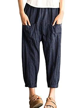 DAYLIN Mujer Retro Cintura Alta Harén Pantalones Casual Suelto Elástico Pantalones con Bolsillo