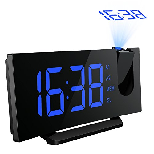 Projektionswecker, Mpow FM Radiowecker/Radiowecker mit Projektion/Uhrenradio/digitaler Wecker, Dual-Alarm mit USB-Ladeanschluss, 5'' große LED-Anzeige mit Dimmer, 120° Dreh-Projektor, 12/24-Stunden, Datensicherung mit Batterie am Stromausfall.