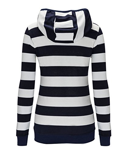 AJ FASHION -  Felpa con cappuccio  - A righe - Maniche lunghe  - Donna Blue White