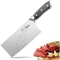 Couperet Couteau de Chef Chinois 18cm Allemand Couteau de Cuisine en Acier Inoxydable avec Poignée Ergonomique
