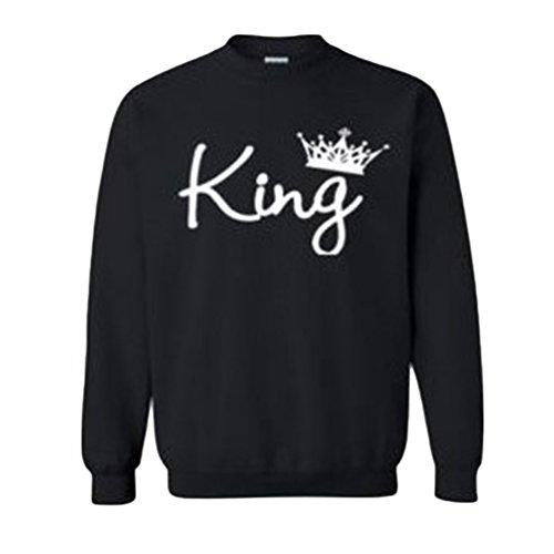 Baymate Coppie Felpa King Queen Stampa Felpe Pullover Uomo e Donna Manica Lunga Cappotto Blusa Casuale Sportive Tops Uomo Stile