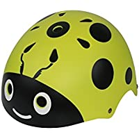 Flowerrs Casco Scooter Casco de la Mariquita de los niños Casco Lindo de la Bici de la Calle Casco del Montar a Caballo de la Historieta Casco del patín (Amarillo) Skate Helmet