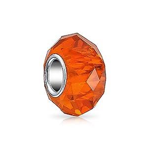 Bling Jewelry Orange Facettierte Murano Glas Sterling Silber Spacer Bead Charms Passend Für Europäische Charm Armbänd Für Damen
