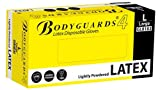 B M POLYCO LTD BODYGUARD GL8182 Latex Lightly Powdered Disposable Gloves, Set of 100