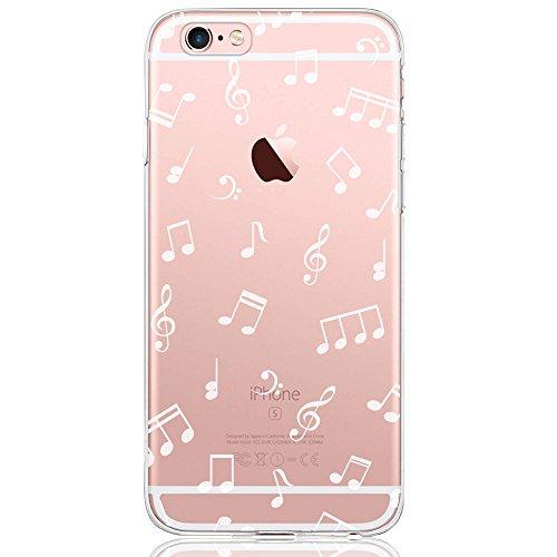 iPhone 8 Hülle, iPhone 7 Hülle (4,7 Zoll), DAPPⓇ Transparente Silikon Damen / Mädchen Schutzhülle, Handyhülle Case Durchsichtig mit Rosa Rot Flamingo Muster für iPhone 8 / 7 Musiknoten