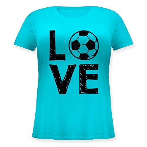 Fußball - Love Fußball - Lockeres Damen-Shirt in großen Größen mit Rundhalsausschnitt Türkis