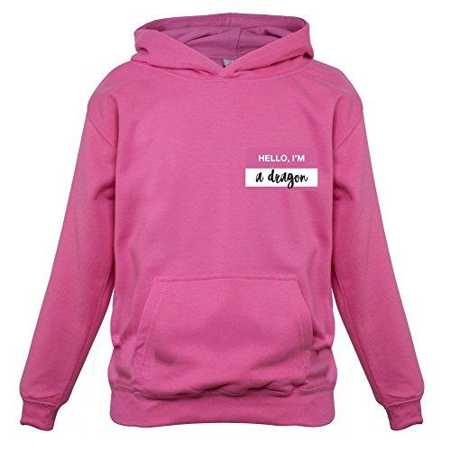 Dragon Gerippte T-shirt (Hello I'm a Dragon - Kinder Hoodie/Kapuzenpullover - Rosa - M (5-6 Jahre))