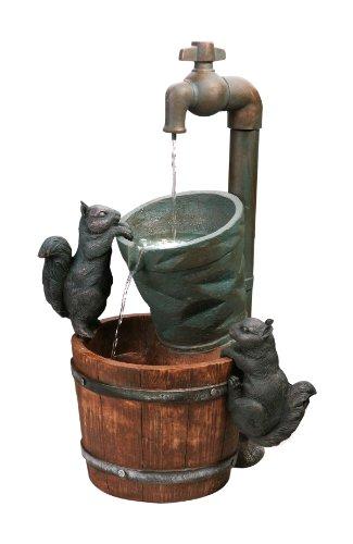 Fontaine d'Extérieur Solaire Robinet Et Ecureuils