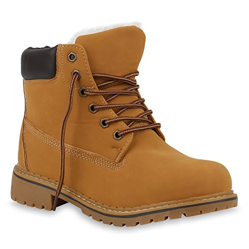 Warm Gefütterte Damen Stiefeletten Outdoor Worker Boots Schuhe 153717 Hellbraun Weiss 39 Flandell