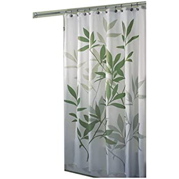 InterDesign Leaves Shower Curtain Polyester Bathroom With Leaf Motif Green