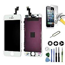 Mobilevie LCD-Bildschirm mit Retina-Display + Touchscreen auf Rahmen für iPhone SE, Weiß + Werkzeug