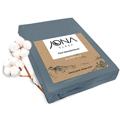 JONA SLEEP Topper-Bezug Spannbetttuch Baumwolle Öko Tex Spannbettlaken mit Rundumgummi Matratzenauflage Grau Jersey Bettlaken für Boxspringbett Waschmaschinen-geeignet (Anthrazit, 180 x 200 cm)
