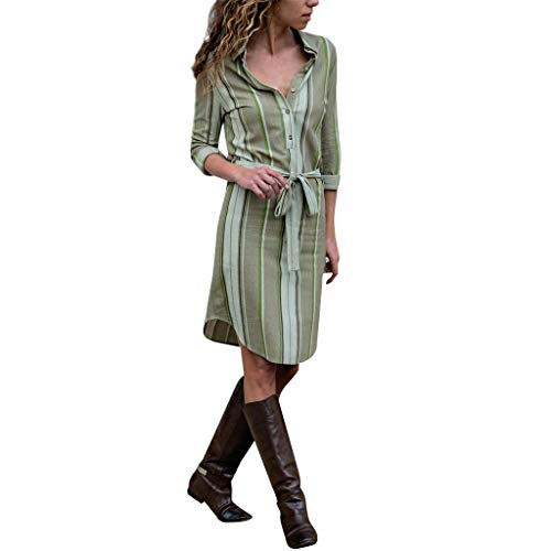 Epig Frauen beiläufige Lange Hülse gestreifter Druck Minikleid Damen Button Up V-Ausschnitt Taille Gürtel Runde Gebogene Saum