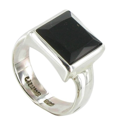 Les Poulettes Jewels - Sterling Silver Ring and Black Onyx Square Shape