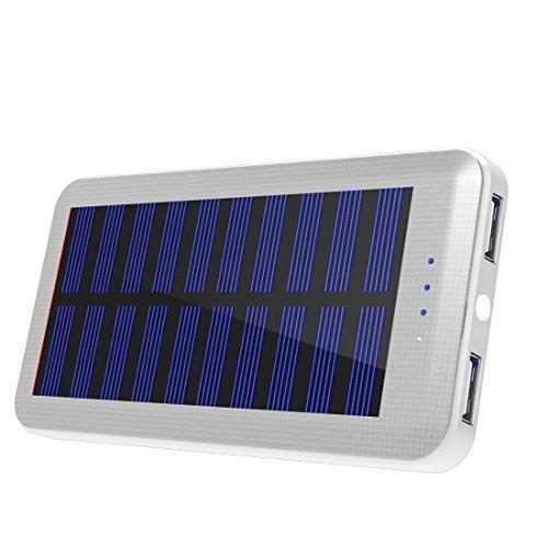 Solar Ladegerät Aedon 20000mAh High Capacity Dual USB-Handy Ersatz-Ladegerät mit LED Taschenlampe Portable für Notfall Camping Wandern Reise im Freien