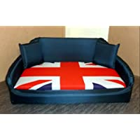 Zippy Dog Bed - Extra Large Sofa - Navy & Union Jack - Waterproof Wipe Clean
