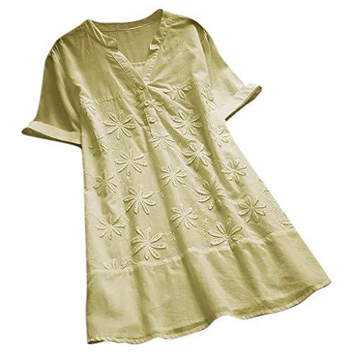 mmer Große Größen,Frau Vintage Stickerei V-Ausschnitt mit kurzen Ärmeln Plus Size Top Bluse T-Shirt Freizeit Oberteile Loose Hemd Oversize Tunika Shirts ()