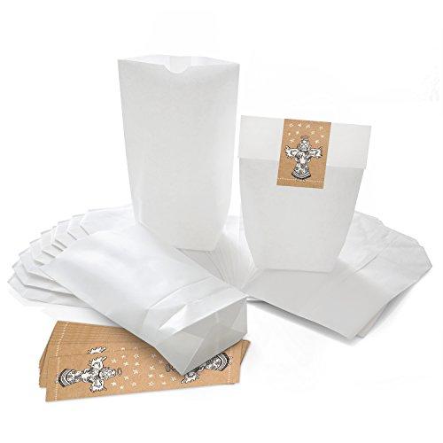 25 kleine weiße Weihnachtstüten Geschenktüten Papiertüten 14 x 22 x 5,6 cm + 25 Stück ENGEL Weihnachts-Aufkleber CHRISTKIND NATUR schwarz weiß beige 5 x 14,8 cm Verpackung Geschenke