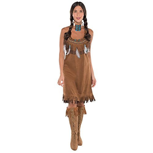 Ladies Red Indian Fancy Dress Costume Pocahontas Womens Native American Brown Outfit UK 6-16 One Size fits all with Feathers and Beads by Fancy Dress VIP