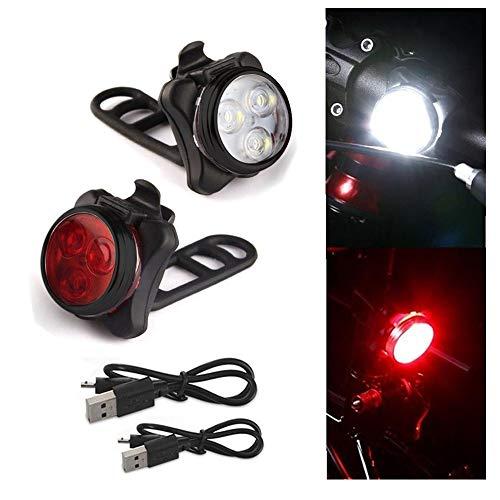 kingko  LED Fahrradbeleuchtung Fahrradlicht, StVZO Zugelassen USB Wiederaufladbare Fahrradleuchte Fahrradbeleuchtung Fahrradlampe Fahrradlicht, Rücklicht, Aufladbare 4 Mode (B)