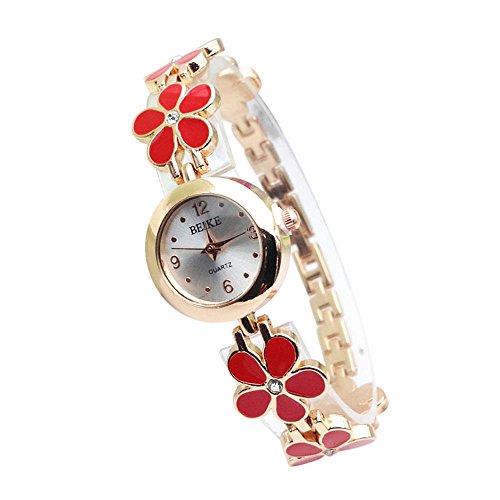 Mode Neue Uhren,Janly Frauen Männer Schöne Mode einfache Uhr Frauen mechanische Gang Uhr Quarz Armbanduhr Luxus Marke Ultra-dünne Armbanduhr Business-Uhren (Rot)