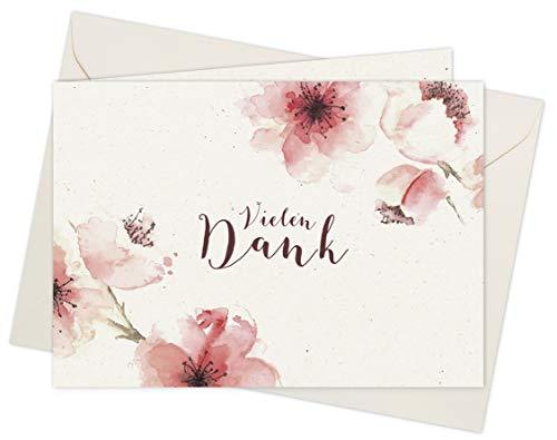 20 Karten & 20 Umschläge: Klappkarten Dankeskarten - Kirschblüten - DIN A6 im Set, Danke sagen mit Danksagungskarten nach Hochzeit, Geburt, Baby, Taufe, Geburtstag, Konfirmation, Kommunion, Jubiläum