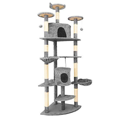 IPOTOOLS Katzenbaum für Grosse Katzen Stabil - Kratzbaum Deckenhoch Katzenkratzbaum Groß Stabil mit Plüsch Höhlen, Sisal Säulen, Liegemulden und Spielkordeln 204 cm (Grau)