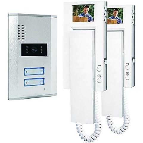 Smartwares VD62 - Sistema de video portero para 2 apartamentos, 4 alámbricos, con 2 vías de comunicación de audio