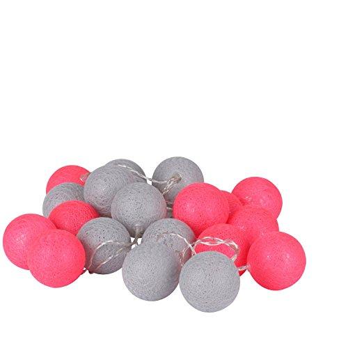 Urban Deco Guirlande Lumineuse 20 Boules - Diam. 6 cm - Rose et Gris