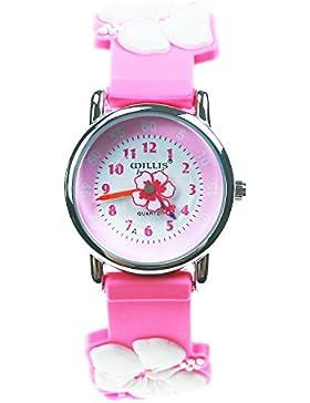 KKwell Weihnachtsgeschenke Lovely Kinderuhr Farbmuster 3D Quartz Uhr Cartoon Students Uhren (Pink mit Blume)