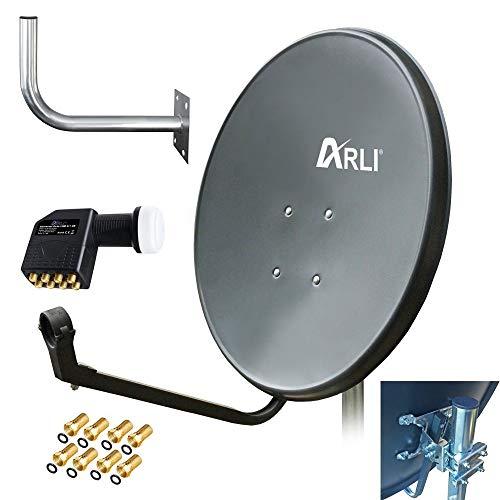 ARLI 60 cm HD Sat Anlage Octo LNB + Wandhalter 45 cm Wandhalterung + 8 F-Stecker vergoldet Dichtring 8 Teilnehmer UHD 4K grau Satellitenschüssel Satelliten Antenne 60 cm