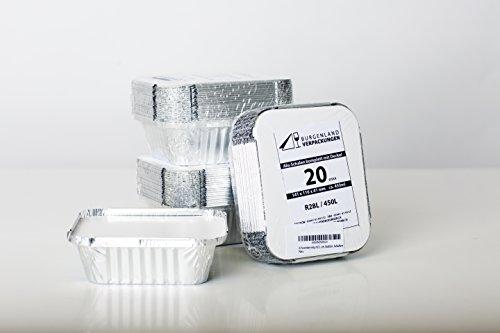 Burgenland-Verpackungen 20 Aluschalen Eckig mit Deckel R28L 450ml Alu-Schale Alu-Menüschale Lunchbox Assietten Menüteller Alubehälter Aluminiumschalen Tropfschale Lasagneform Auflaufform