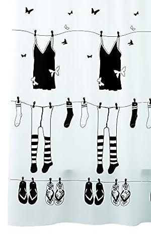 Duschvorhang Textil mit Ringen RUE DE PAPILLON in weißm Wannenvorhang