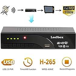 Leelbox Decodeur TNT Terrestre - 1080P HD / DVB-T2 / H.265 / MPEG-4/Dolby / Multimedia/ decodeur TNT Satellite