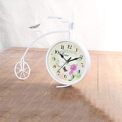 Littlefairy Mantel ClocksLiving Room Clock Ornaments Home Multifunctional Iron Bicycle Sit Clock Double Bedroom Bedside Mute Clock 37 * 17 * 25cm