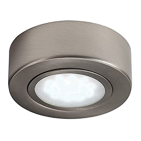 LED ME® Stainless Steel Round Under Cabinet LED Cupboard / Cabinet Light / Downlight in a Brushed Chrome Finish (Warm White