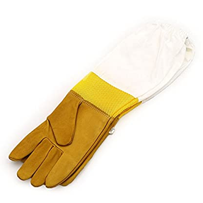 New Extra Large Beekeeping Gloves made with goatskin and thick vented cotton sleeves Bee Hive Farm Equipment 7