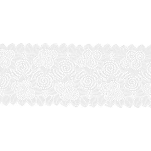 5YD Encaje Bordado Recorte Cinta Elástico Flor Artesanía Costura Bricolaje Blanco