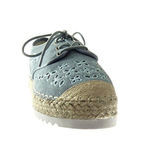 Angkorly Damen Schuhe Espadrilles Derby-Schuh - Plateauschuhe - Offen - Perforiert - Bestickt - Seil Keilabsatz High Heel 3 cm Blau