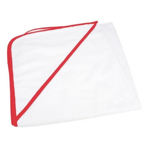 A&R Towels - Babiezz- Asciugamano con cappuccio personalizzabile - Neonati/Bambini (Taglia unica) (Bianco/Rosso)