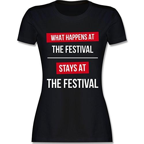 Festival - What happens on the festival stays at the festival - tailliertes Premium T-Shirt mit Rundhalsausschnitt für Damen Schwarz