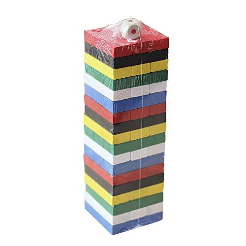 Ukallaite Spielzeug Geschenk Bausteine   Spielzeug 54 Stücke Holz Stapeln Taumeln Turm Spiel Kinder Familie Würfel Bausteine   Spielzeug Spielzeug Für Alle (Holz-würfel-turm)