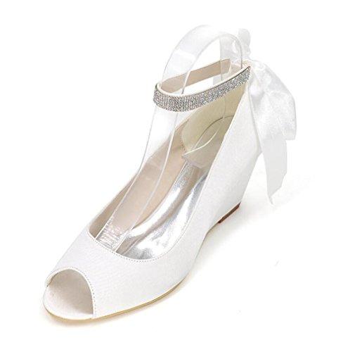 Ei&iLI Women 's raso scarpe da sposa Open Toe allacciatura cuneo scarpe da partito dei vestiti da damigelle EU36-EU43 Red