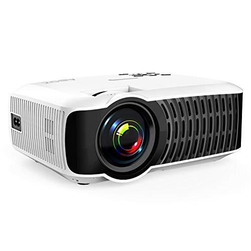 Beamer, ABOX T22 Tragbarer LED Projektor mit HDMI USB SD Karte VGA AV für Heimkino TV und Weltmeisterschaft- Weiß