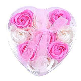 SODIAL(R) 9Pcs Scented Rose Flower Petal Bath Body Soap Wedding Party Gift(Pink+White)