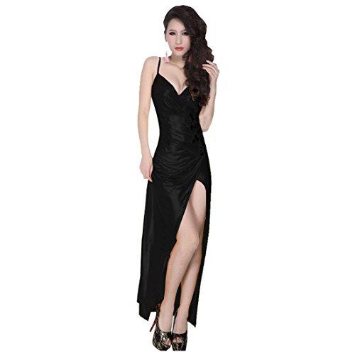 partiss femmes soie col en V Sexy slim Club robe de Soirée Noir