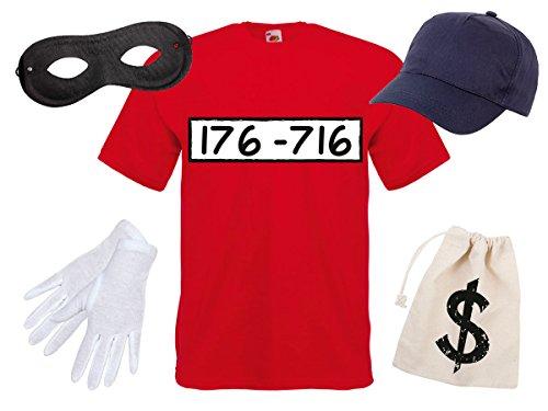 Bankräuber Maske Kostüm - Alsino Panzerknacker Fan Kostüm Outfit Maske Set Cap Handschuhe Einbrecher Bankräuber Verkleidung, Variante wählen:T-Shirt/Cap/Maske/Handsch/Beutel;Größe wählen:L