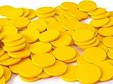 Einkaufswagenchips 1 Euro und Einkaufschip, viele Farben, einsetzbar als Spielgeld oder Spielmünzen, Farbe:gelb, Größe:100 Stück