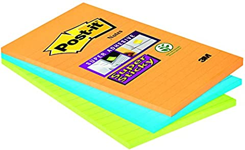 Post-it Super Sticky Notes Lined - Ultra Colours, Pack of 3 Pads (45 Sheets Per Pad)
