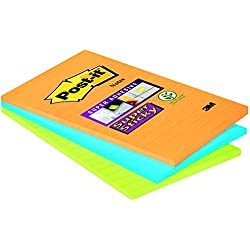 1 de 3M Post-It Super Sticky 46453SSA, Pack de 3 Blocs de Notas Adhesivas, 101 x 152 mm, Multicolor